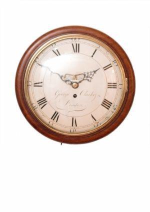 A Small English Mahogany Dial Timepiece, George Clarke London, Circa 1790