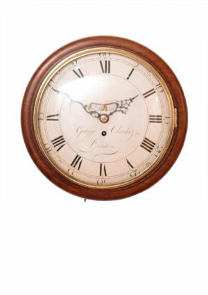 A Small English Mahogany Dial Timepiece, George Clarke London, Circa 1790