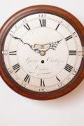 English-UK-London-mahogany-Georgian-antique-dial-wall-pub-clock-George Clarke