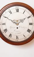 English-UK-London-mahogany-Georgian-antique-dial-wall-pub-clock-George Clarke