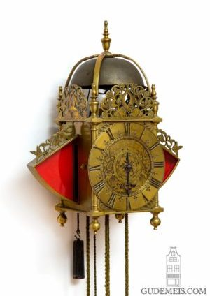 English-brass-striking-alarm-engraved-lantern-antique-wall-Thomas-Taylor-London-wall-clock-