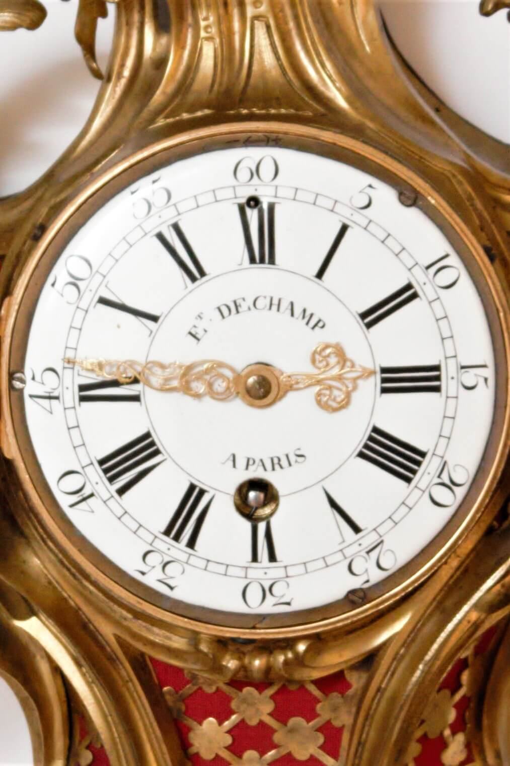 French-Louis XV-ormolu-gilt-bronze-cartel-antique-wall-clock-quarter Repeating-d'alcove-deschamps-paris