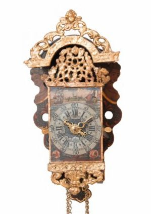 Miniature-Frisian-Dutch-polychrome-iron-painted-antique-wall-clock-stoelschippertje-striking-alarm