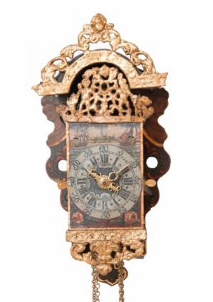 A Dutch Frisian Miniature Polychrome 'schippertje' Alarm Wall Clock, Circa 1800