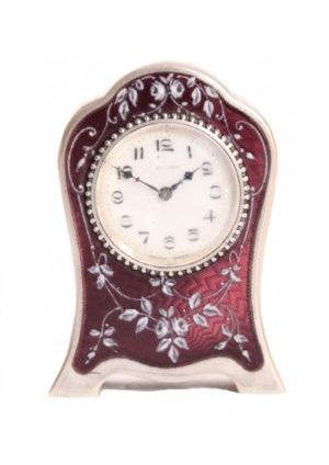 A Miniature Swiss Guilloche Engraved Translucent Enamel Carriage Clock, Zenith Circa 1920