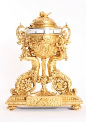 A Large French Gilt Bronze Sculptural Cercles Tournants Mantel Clock, Circa 1870