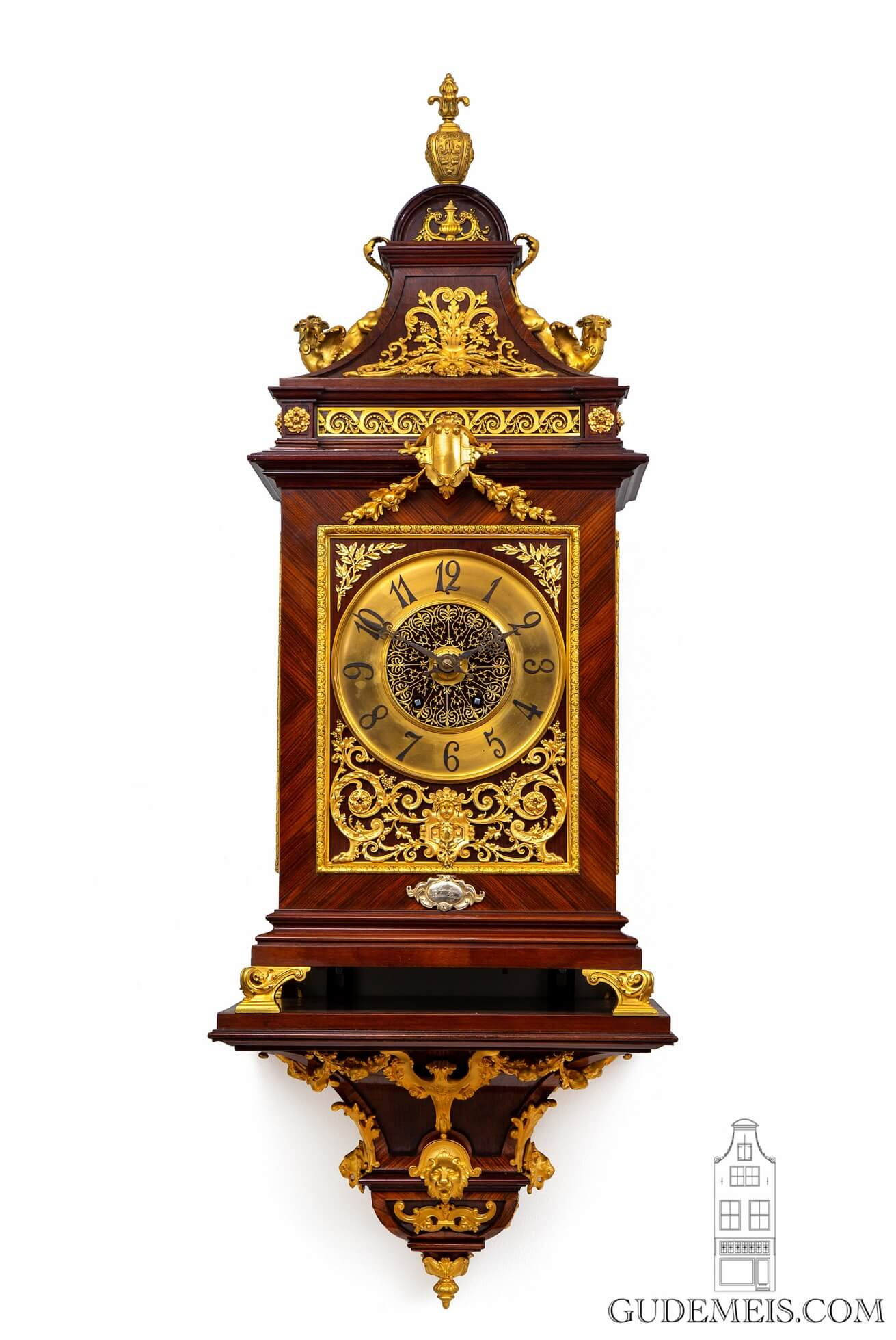 French-rosewood-gilt-bronze-console-cartel-bracket-striking-antique-clock-Planchon-Paris-3