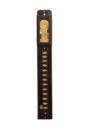 A Japanese Ebony Shaku Dokei Pillar Wall Clock, Circa 1850