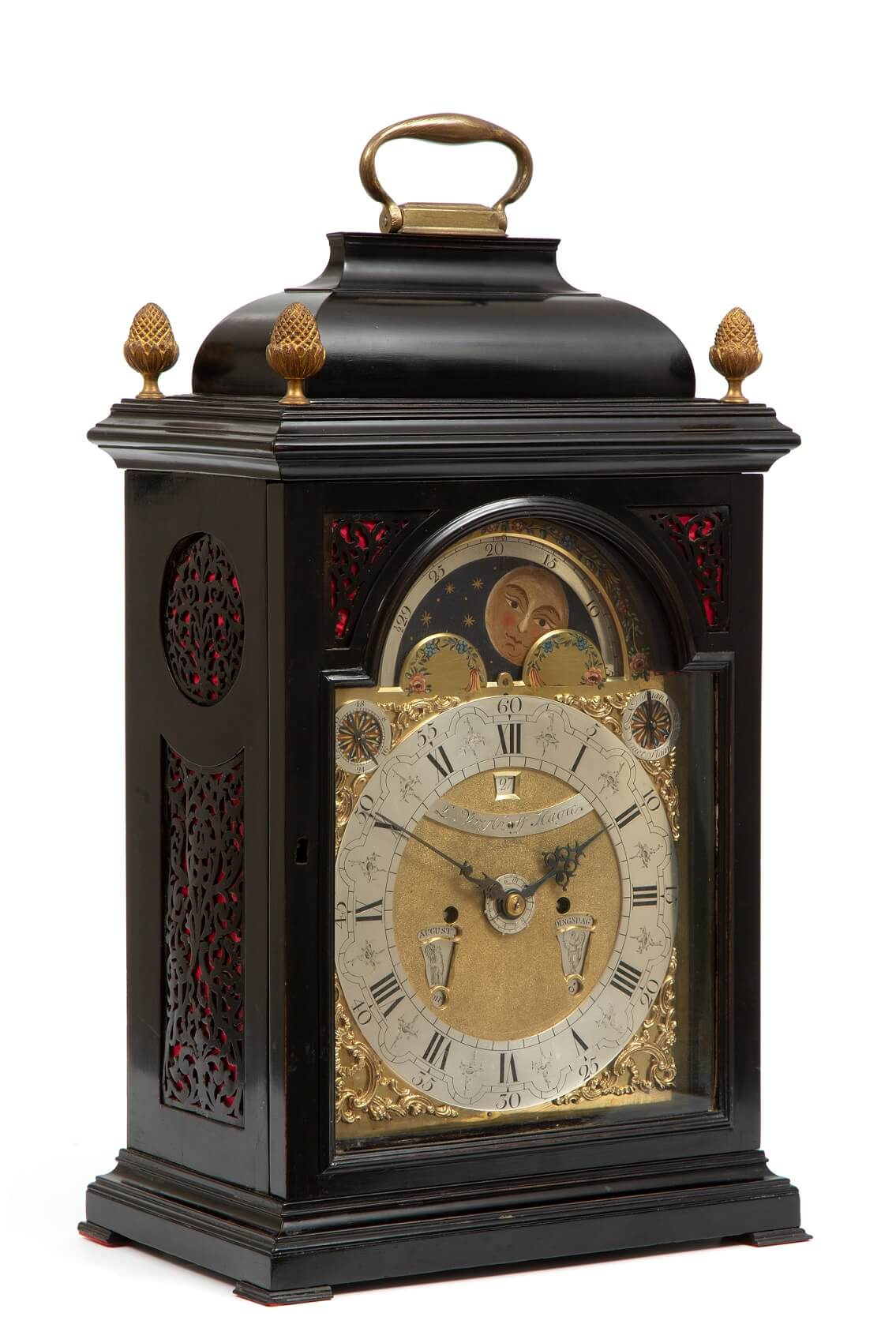 Dutch-ebonised-striking-table-clock-calendar-moonphase-antique-clock-Vrijthoff-the hague