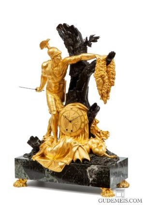 A Large French Ormolu And Patinated Sculptural Mantel Clock, Jason Circa 1810