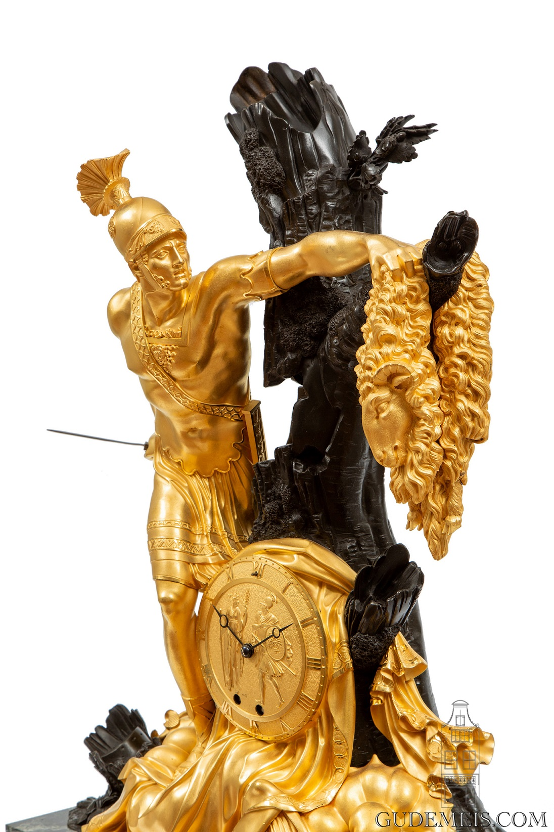 French-Empire-ormolu-bronze-marble-Jason-Feuchere-Galle-antique-clock-striking-malmaison-paris