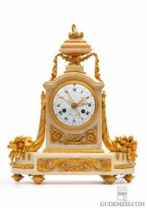 A Fine French Louis XVI Ormolu Mounted Mantel Clock With Calendar, Bourdier Circa 1790.