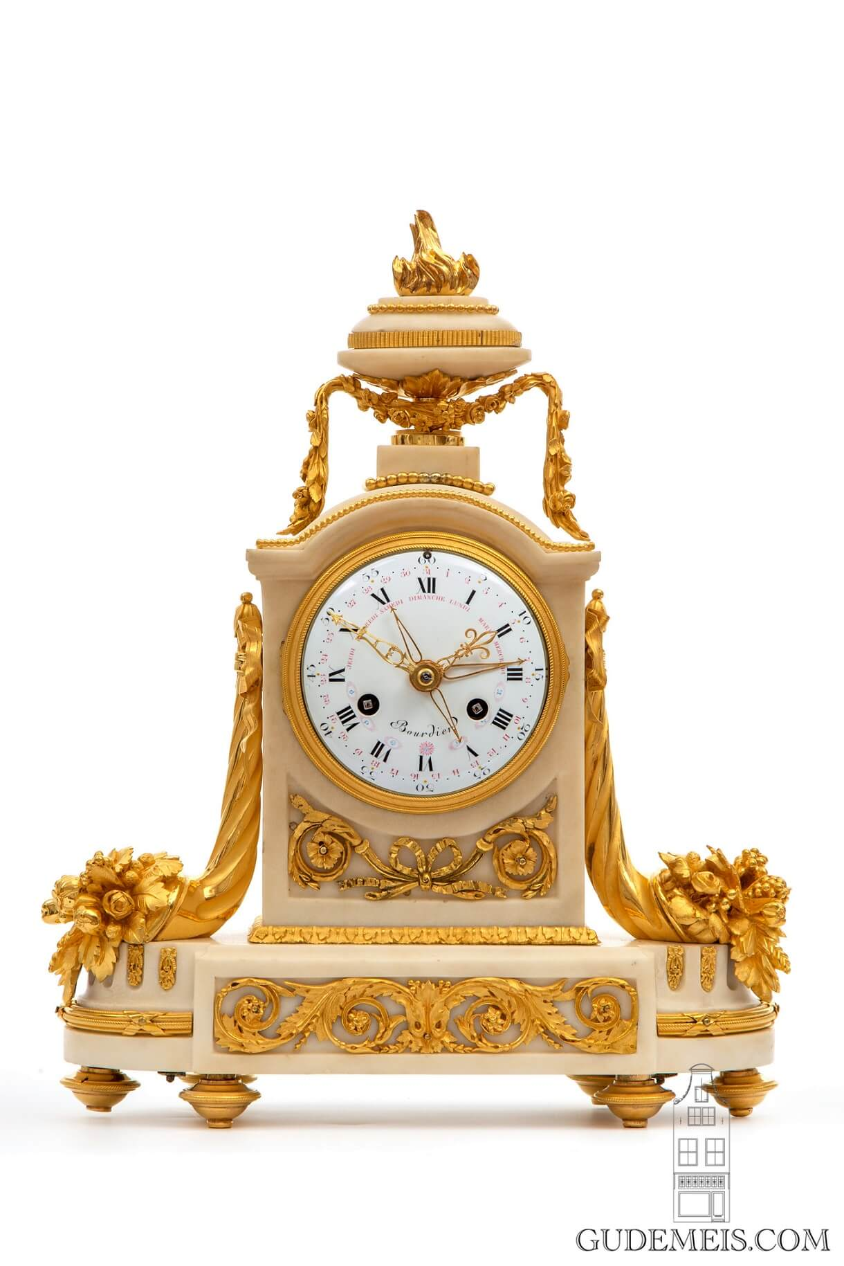 French-Louis XVI-borne-gilt-bronze-calendar-date-day-antique-mantel-clock-Bourdier-Paris-striking