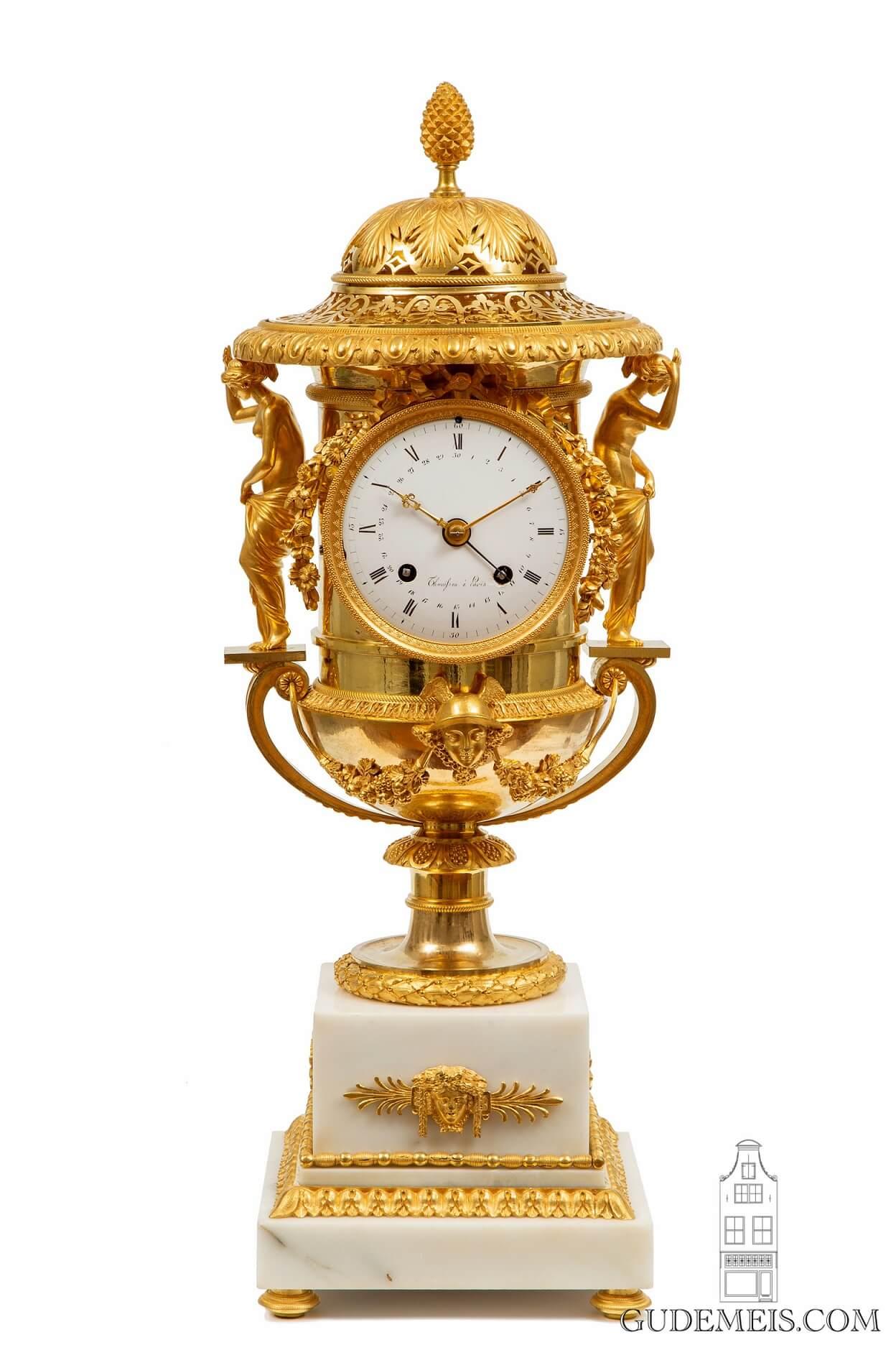 French-empire-gilt-bronze-ormolu-urn-striking-mantel-antique-clock-thomire-medici-paris