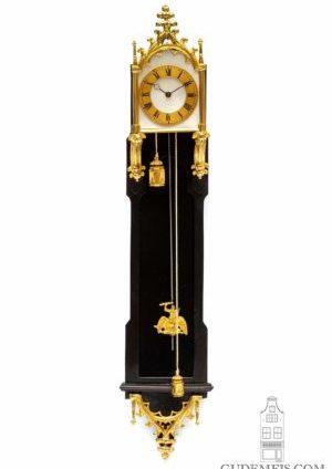 A Miniature Austrian Neo Gothic Gilt Brass Mounted Ebony 'brettl' Wall Timepiece, Circa 1840
