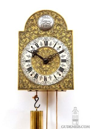 A Small Austrian Engraved Brass Wall Clock, Peter Lazarus Wien, Circa 1750