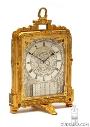 English-Victorian-engraved-gilt-brass-Thomas-Cole-strut-pre Numbered-travel-desk-calendar-antique-clock-