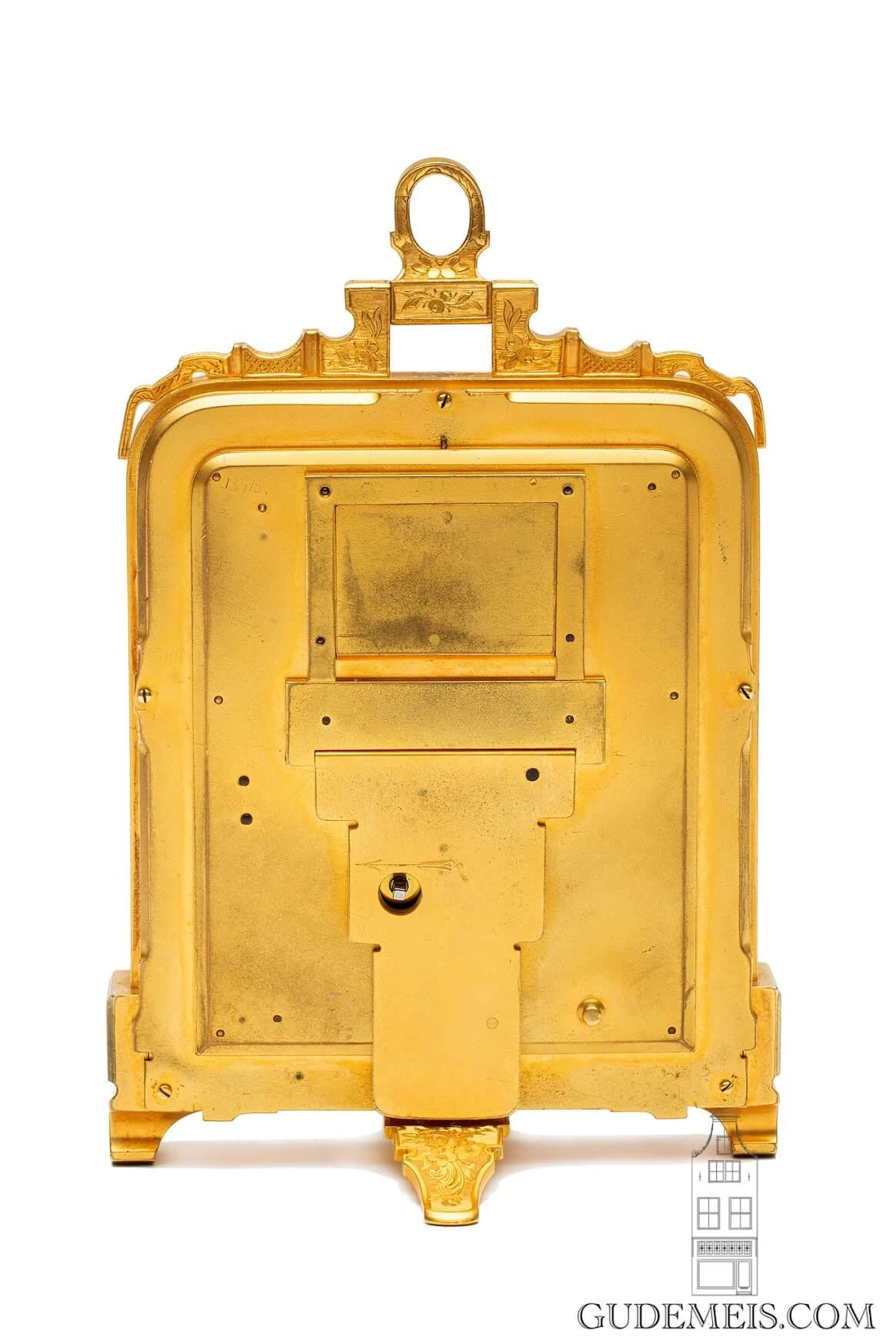 English-Victorian-engraved-gilt-brass-Thomas-Cole-strut-pre numbered-travel-desk-calendar-antique-clock-
