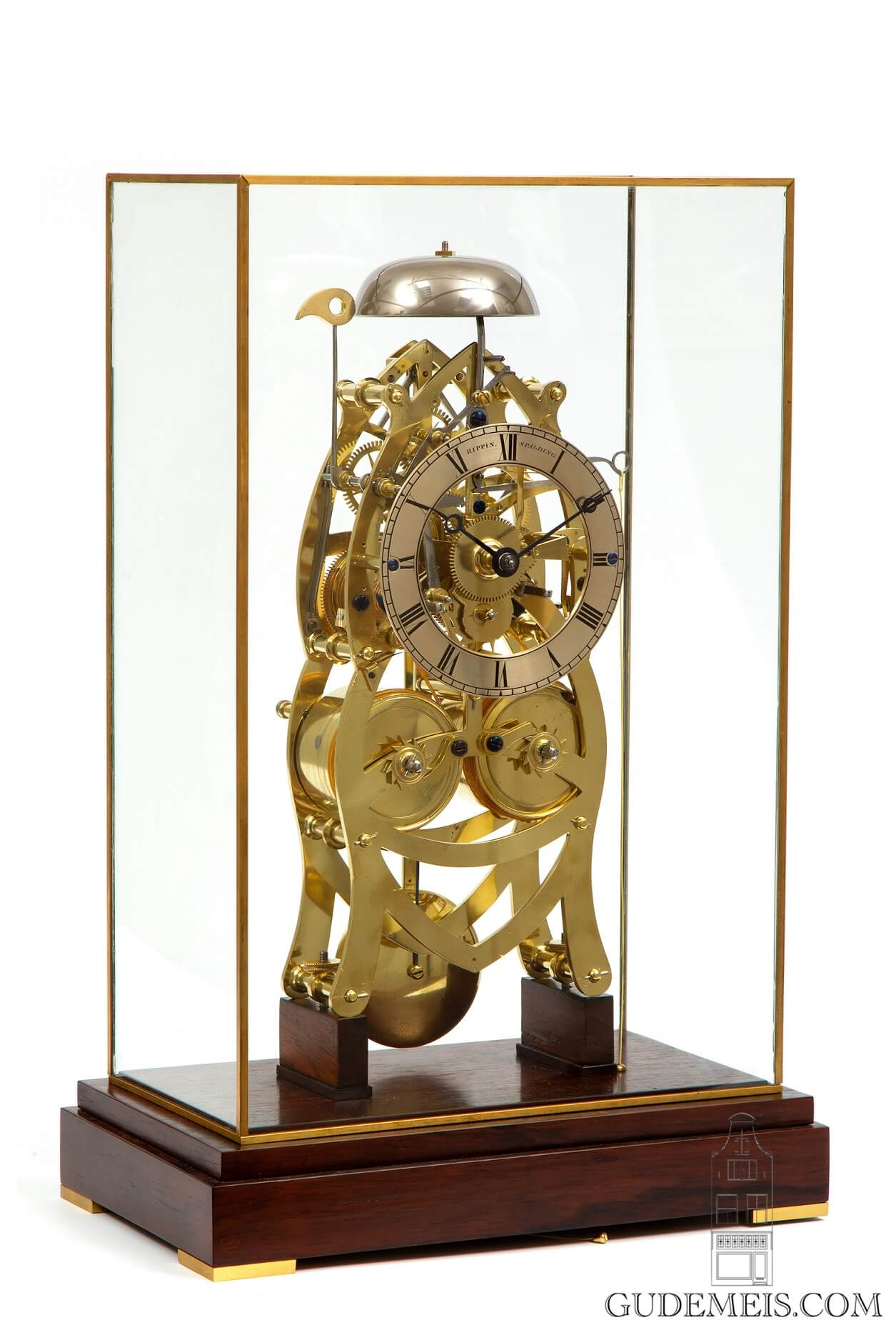English-brass-skeleton-striking-repeating-fusee-table-antique-clock-rippin-spalding