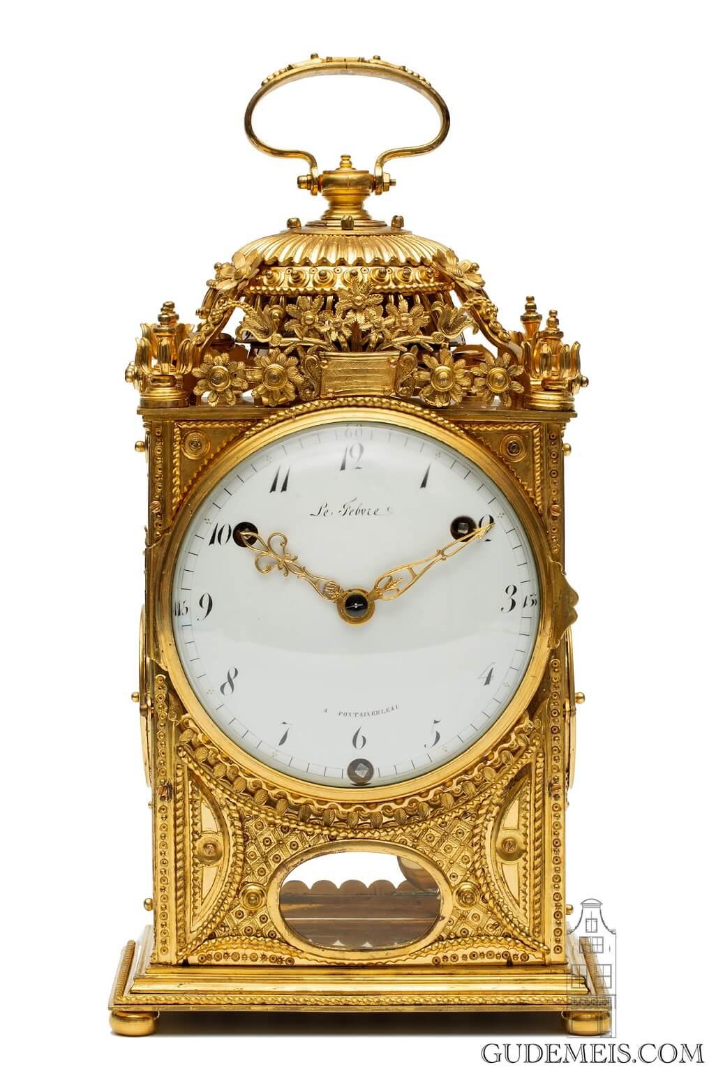 French-Louis XVI-gilt-bronze-ormolu-pendule-d'officier-quarter-striking-Paris-travel-LeFebvre-Fontainebleau-antique-clock-