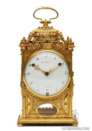 French-Louis XVI-gilt-bronze-ormolu-pendule-d'officier-quarter-striking-Paris-travel-LeFebvre-Fontainebleau-antique-clock-