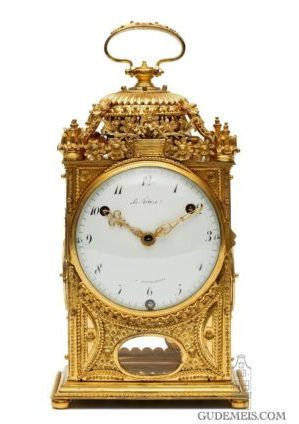 A Rare And Early French Louis XVI Gilt Brass Quarter Striking 'pendule D'officier, LeFebvre, Circa 1770
