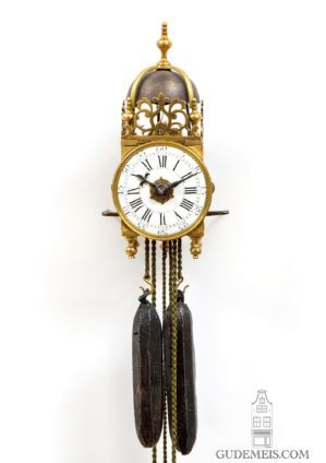 Miniature-French-Louis XV-brass-lantern-clock-striking-alarm-antique-clock-