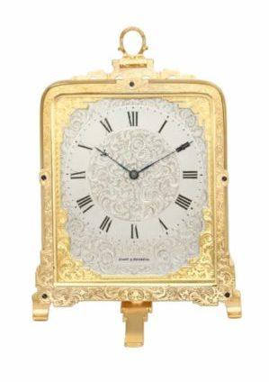 English-engraved-gilt-brass-eight-day-Cole-strut-clock-victorian-Hunt-Roskell-London-