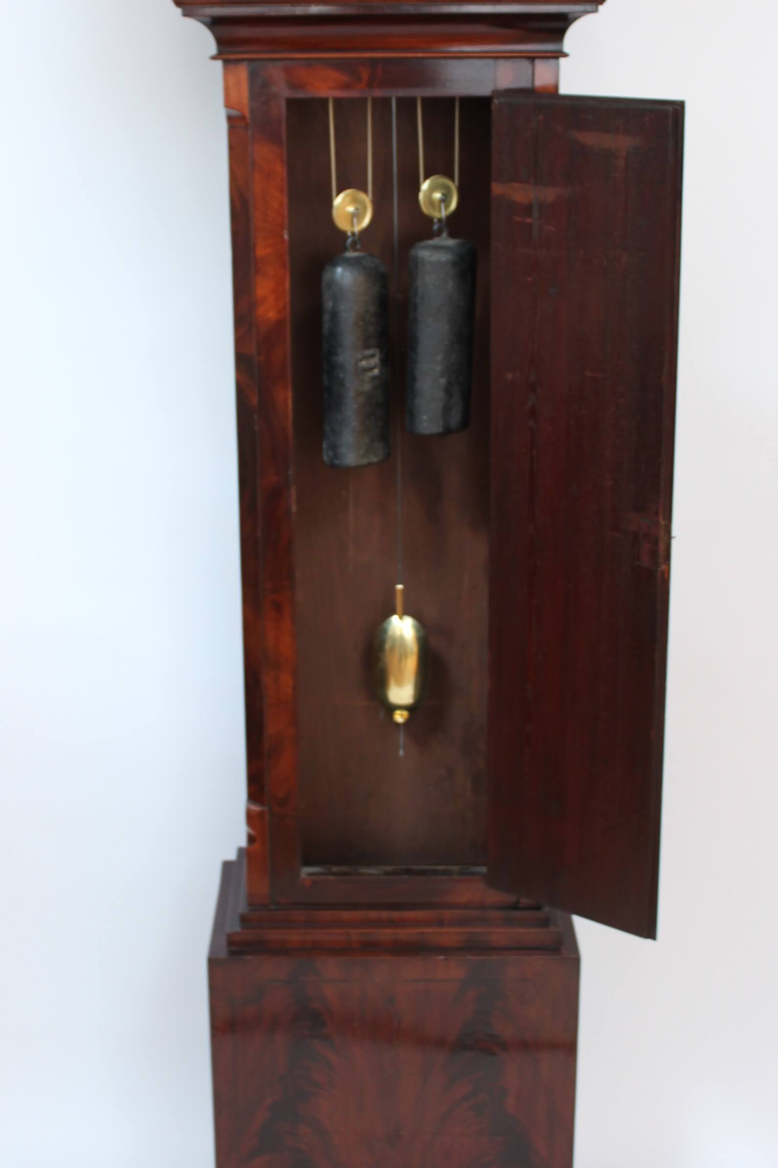scottish-english-georgian-mahogany-miniature-brass-small-striking-mitchell-glasgow-antique-longcase-clock-