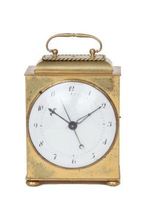 Janvier, Een Zeldzaam En Klein Frans Messing Reisklokje, Circa 1800