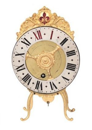 Swiss-Bern-brass-gilt-night-antique-clock-vielleuse-verge-Blaser-ormolu-night Clock
