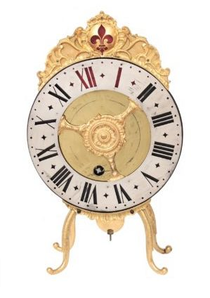 A Fine Swiss Gilt Brass Night Clock 'vielleuse' B. Blaser A Berne, Circa 1750
