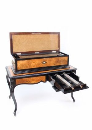 A Large Swiss Walnut Allard & Co Interchangeable Cylinder Music Box On Table, Circa 1890