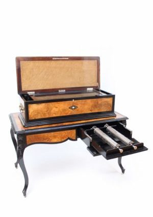 Swiss-cylinder-music-box-interchangeable-walnut-rosewood-allard-geneva-table-musical-music-mechanical-antique-victorian