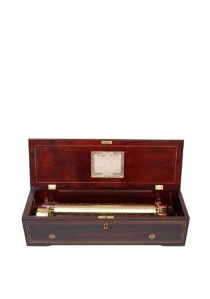 A Fine Swiss Nicole Frères Marquetry Rosewood Cylinder Music Box With Eight Airs, Circa 1855