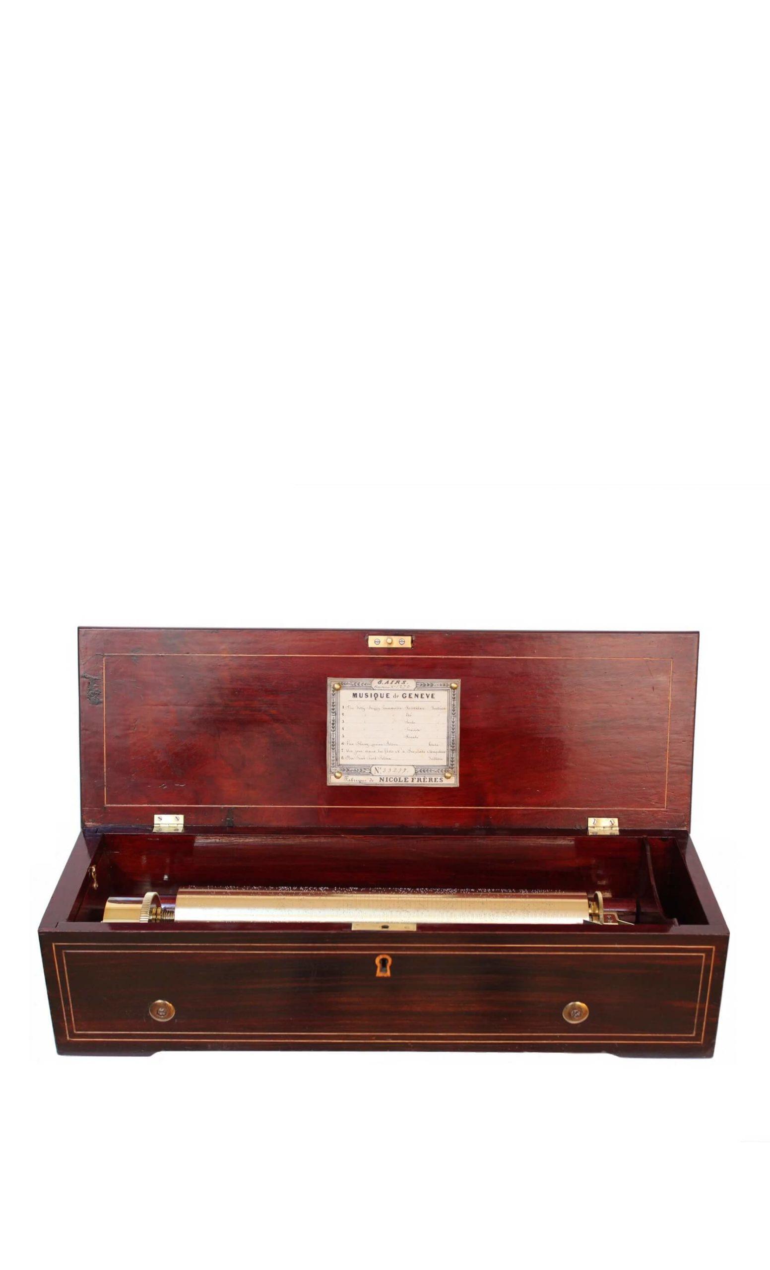 swiss-geneva-rosewood-cylinder-music-box-musical-side winder-nicole freres-nicole-freres