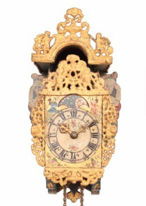 Dutch-Frisian-miniature-polychrome-provincial-striking-stoelschippertje-stoelklok-antique-wall-clock-