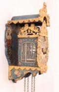 Dutch-Frisian-miniature-polychrome-provincial-striking-stoelschippertje-stoelklok-antique-wall-clock-