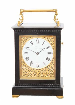 A Fine English Giant Ebonized Carriage Clock, Edward John Dent #598, Circa 1844.