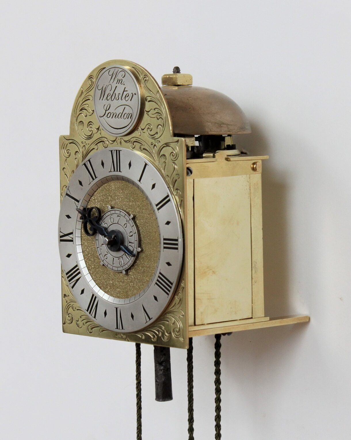 English-small-brass-alarm-travel-lantern-antique-wall-clock-william-webster-london-