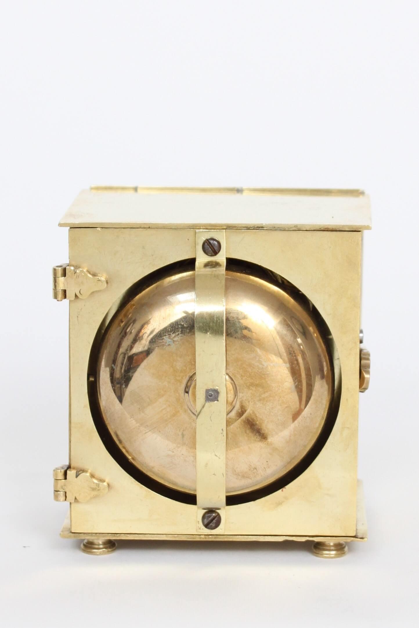 German-Austrian-brass-square-alarm-antique-travel-clock-travel-case-