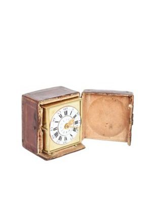A Rare And Small German Brass Travel Alarm Clock With Travel Case, Circa 1770