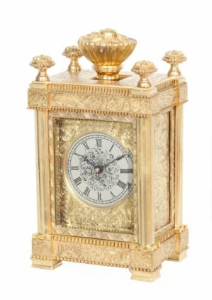 English-Victorian-engraved-gilt-brass-travel-carriage-clock-aubert-klaftenberger-London