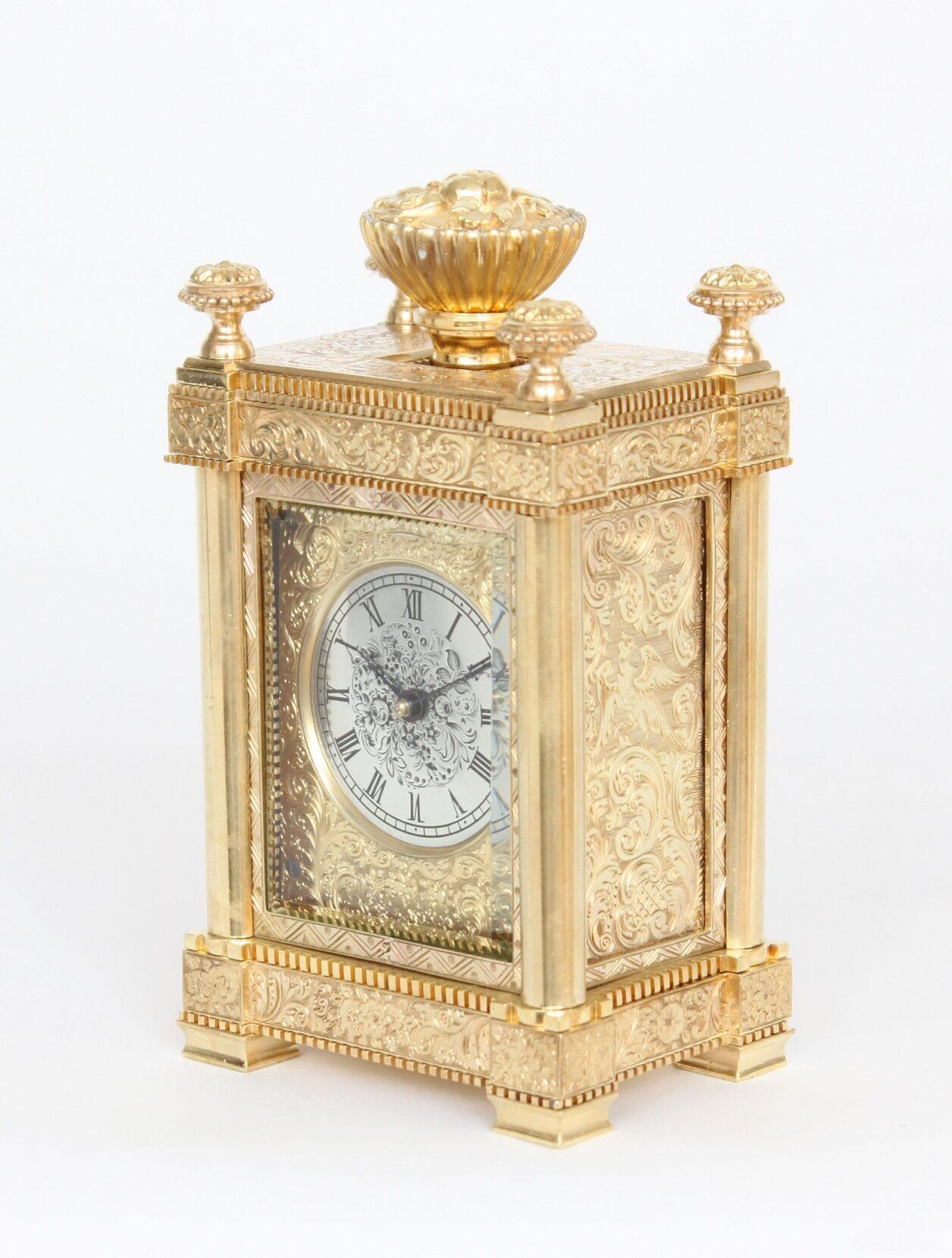 English-Victorian-engraved-gilt-brass-travel-carriage-clock-aubert-klaftenberger-London