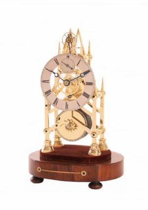 English-british-brass-victorian-neo-gothic-skeleton-balance-antique-clock-