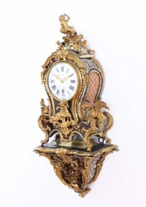 French-Louis XV-Boulle-marquetry-bracket-cartel-Melon-Paris-gilt-bronze-antique-clock-