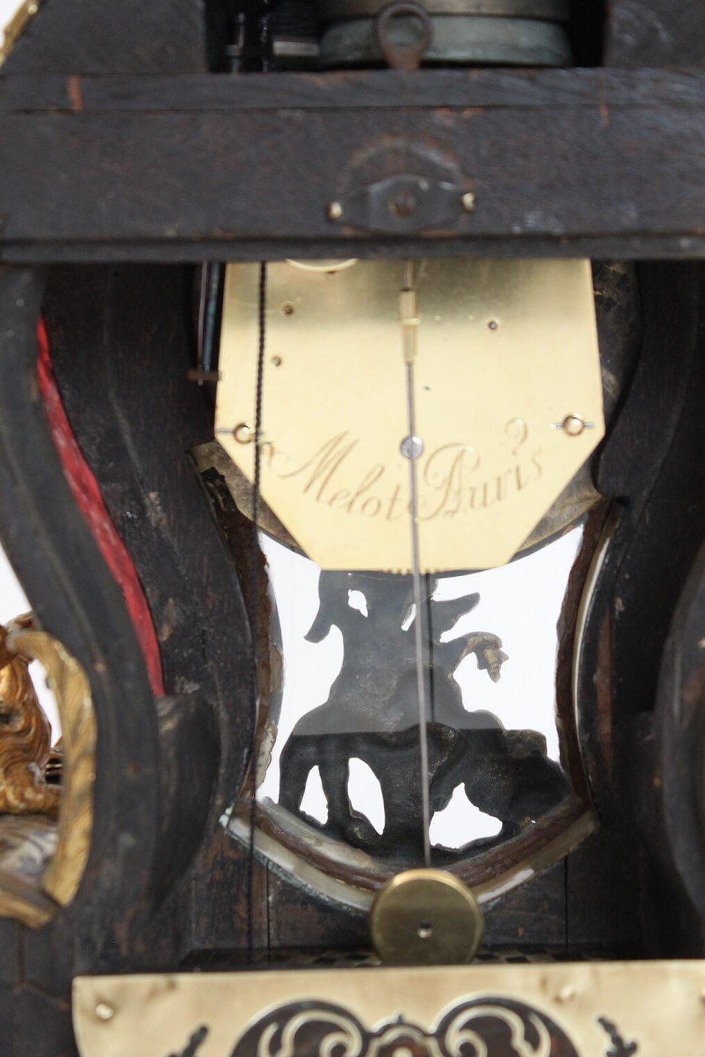 French-Louis XV-Boulle-marquetry-bracket-cartel-Melon-Paris-gilt-bronze-antique-clock-
