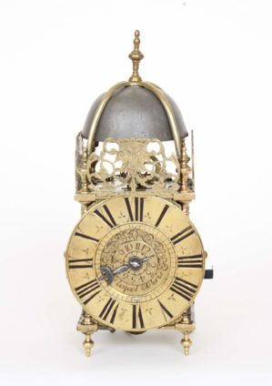 French-regence-brass-miniature-alarm-lantern-antique-wall-clock-Paris-