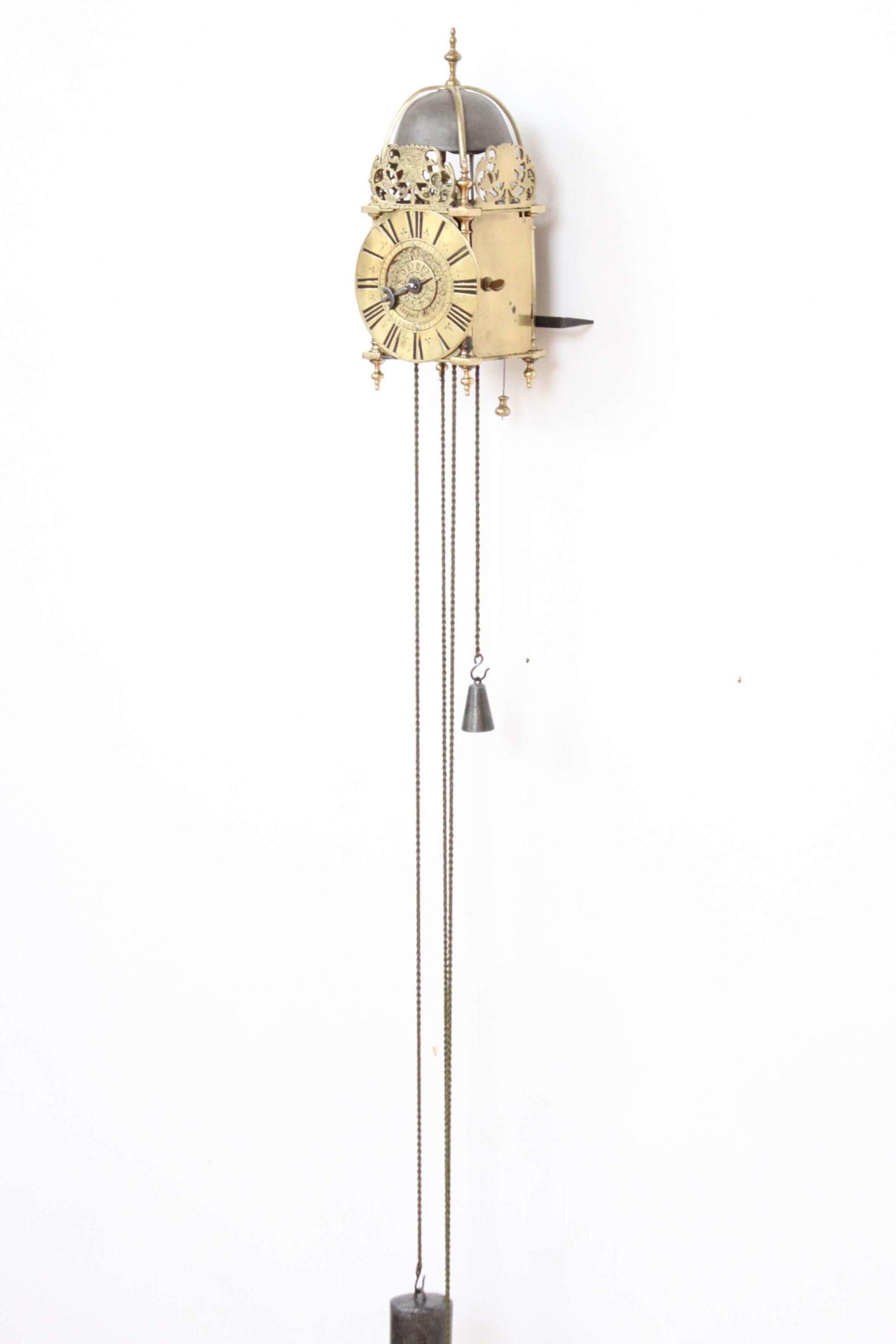 French-regence-brass-miniature-alarm-lantern-antique-wall-clock-Paris-