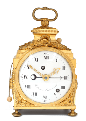 Swiss-French-ormolu-gilt-bronze-Louis XVI-pendule-officier-travel-antique-clock-Robert-Courvoisier-